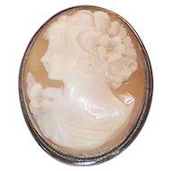 Vintage Shell Cameo Brooch 925 Sterling Frame