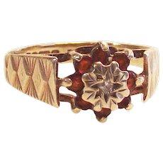 Victorian Garnet and Diamond Ring 9 Caret Yellow Gold size 5