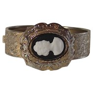 Vintage Mid Century Wide Hard Bangle Machine Tooled Floral Pattern With Cameo
