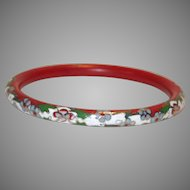 Vintage Chinese Cloisonné Red & White Floral Hard Bangle