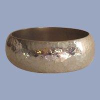 Mexican Sterling Hammered Bangle Bracelet   Wide