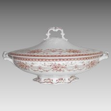 "Covered Vegetable Brown and White Transfer ware ""Blenheim"""