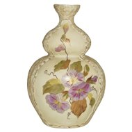 Art Nouveau Purple Morning Glory Vase by Beyer and Bock Hand Painted