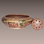 Vintage Roseville Console Bowl Florentine with Original Frog 1924