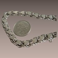 Vintage Sterling Heart Charm Bracelet 8 inches Long