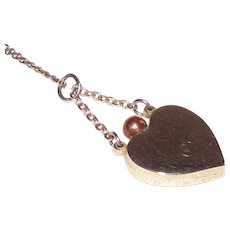 Silver Heart Perfume Pendant with Rose Gold Tone Dauber
