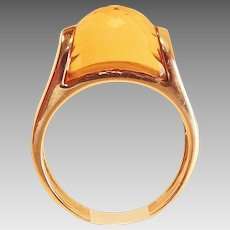 Vintage 14KT Yellow Gold and Lemon Citrine Ring Size Six