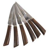 Bakelite Handled Steak Knives Six Piece English