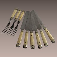 Landers Frary and Clark Six Piece Bone and Pewter Inlay Table Knives 1874