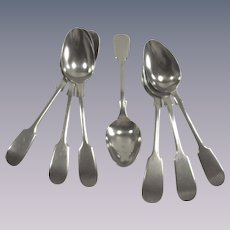 English  Silver High Tea Spoons Potosi  Seven Piece in Fiddle Head Pattern