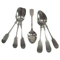 English  Silver High Tea Spoons Potosi  Seven Piece in Fiddle Head Pattern