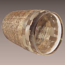 Sweet Grass Basket with Leaded Flint Glass Tumbler