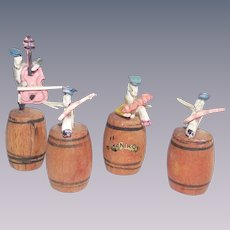 Japanese Celluloid Cricket Band Sitting on Wooden Kegs 1950s Miniatures