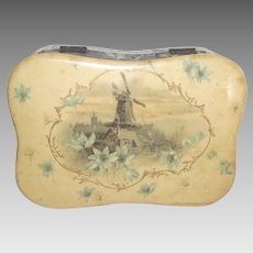 Celluloid Dresser Box with Wind Mill and Flowers