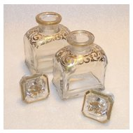 Moser Perfumes Hand Blown and Hand Painted with Gold Trim for Casket