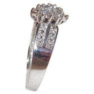 10 Kt White Gold Diamond Waterfall Cocktail Ring