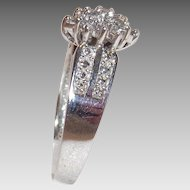 10 Kt White Gold Diamond Waterfall Cocktail Ring