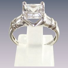 14 Kt. White Gold Ring sz six Princess Cut Rounds and Baguette CZs.