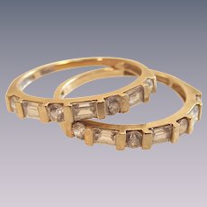 14K Gold Ring Guard Set Round & Baguette Anniversary Wedding Stackable Band .60 Carat of Clear CZ's