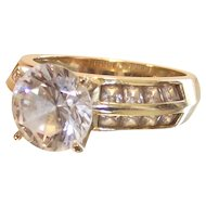 14 Kt Yellow Gold 6MM Round Cz with Channel Set Shoulders Ring size 6