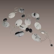 Rutilated Quartz  Necklace Black & White Gemstones with Sterling Silver