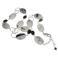 Black & White Rutilated Quartz  Necklace  set with Sterling Silver