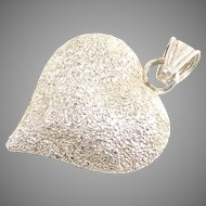 Sterling Puffy Heart Charm Pendant High Polish on One Side Diamond Cut on The Other