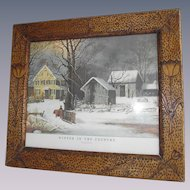 Tulips Pyrography Picture Frame Arts and Crafts era dated 1914