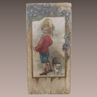 "Victorian Candy Box Little Boy and his Dog ""Dangerous"""