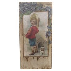 """Victorian Candy Box Little Boy and his Dog """"Dangerous"""""""