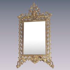 Victorian Gilt Table Mirror with Puti or Cherub a Perfect Wedding Frame