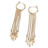 Demi Hoop Earrings with Long Fringe Gold Tone