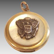 Vintage U.S. Army Locket with MOP on Cover World War Two Era Piece