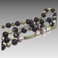 """Banded Black Agate and Olivine 24"""" Bead Necklace"""