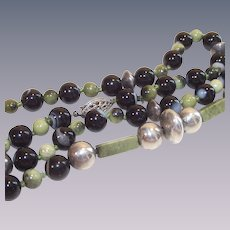 "Banded Black Agate and Olivine 24"" Bead Necklace"