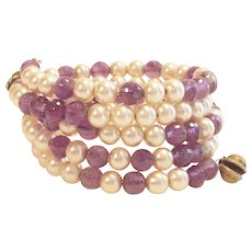 Glass Pearl and Purple Beads Wrap Bracelet