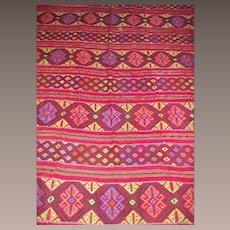 Vintage Zapoteca Mexico Floor Rug Room Size
