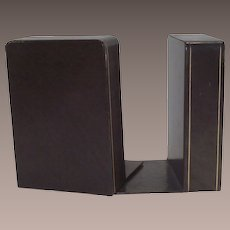 Leather Book Ends Brown with Gold Thread Stringing