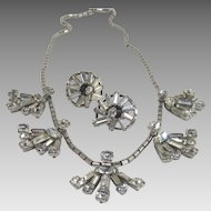 Clear Rhinestone Demi Parure with Pierced Earrings