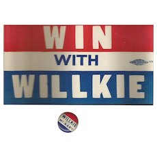 Vintage Wendell Willkie Bumper Sticker and  Pinback 1940
