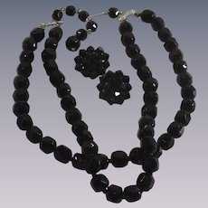 Mid Century Black Faceted Glass Bead Necklace and Matching Earrings