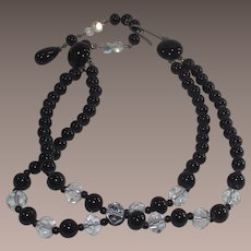 Mid Century Black and Crystal Faceted Glass Bead Necklace
