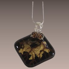 Sterling Chain with Dichroic Glass Pendant
