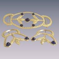 Art Nouveau Matching Brooches and Belt Buckle Set Three Piece Set
