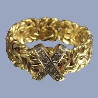 14 Karat Gold Byzantine Ring With Diamonds