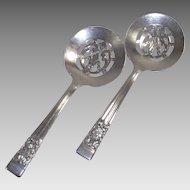 Vintage Coronation Pattern Bon Bon Serving Spoons Silver Plate