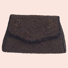 Beaded Belgian Clutch Hand Bag Black and Gold