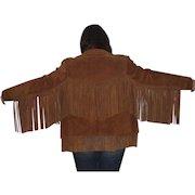 Ladies Cow Leather Western Fringe Jacket