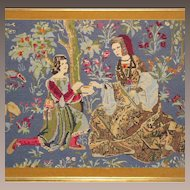 Vintage Needlepoint of circa 1500 Court Scene