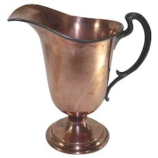 Vintage Copper Water Pitcher with Pewter Handle